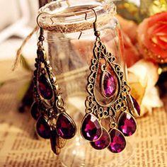 Vintage Inspired Bronze Purple Crystal Chandelier Tassel Earrings | FabulessAccessories - Jewelry on ArtFire