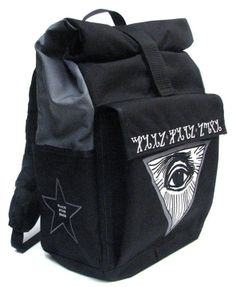 A medium waterproof rolltop backpack with a graphic of the all seeing eye and thebian alphabet.