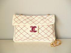 Bolso blanco Chanel 2.55 de ganchillo / Crochet 2.55 Chanel by SILAYAYA