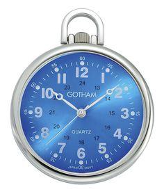 Gotham Men's Silver-Tone Slim Railroad Open Face Quartz Pocket Watch GWC15027SBL #Gotham