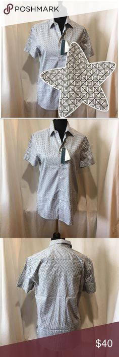 NWT Perry Ellis Gray/Black/White Button Down Shirt NWT Perry Ellis Gray/Black/White Button Down Shirt.  Material has a little stretch and the inside tag says stretch. Perry Ellis Shirts Casual Button Down Shirts