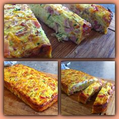 Zucchini & Carrot Egg Loaf! (Makes 1 small loaf) 6 eggs (whisked) 1/2 cup grated cheese 1/2 zuchini grated 1/2 carrot grated 1 garlic clove grated 4 slices rindless bacon chopped 1/4 red onion chopped 1 tbs melted butter Mix all ingredients together in bread tin and bake at 180 in the oven for 25 minutes!