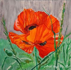 The colorful red poppy.  100% Original. Acrylic painting