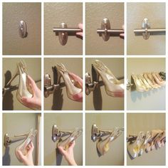 To organize your high heels, create a shoe rack using a curtain rod and Command™ Large Traditional Hooks in Brushed Nickel. It's a great use of wall space and eliminates taking up floor space in a bedroom or closet.