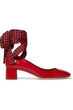 Miu Miu's pumps have been crafted in Italy from glossy patent-leather. Perfect for all-day wear, this round-toe pair is set on a block heel and has a flattering low vamp. Switch between the red and gingham lace-up ties or detach them for a subdued look.