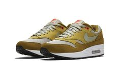 Official Images: atmos x Nike Air Max 1 Green Curry - Dr Wong - Emporium of Tings. Air Max 1s, Nike Air Max, Air Max Sneakers, Sneakers Nike, Sneaker Bar, Bring The Heat, Green Curry, Unique Shoes, Shoe Collection