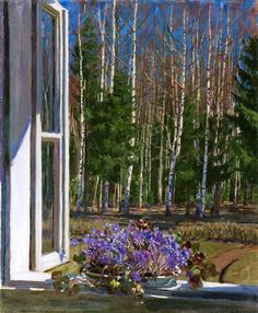 Stanislav Yulianovich Zhukovsky Spring landscape with violets, 1935 Window View, Open Window, Window Art, Spring Landscape, Landscape Art, Landscape Paintings, Russian Painting, Russian Art, Through The Window