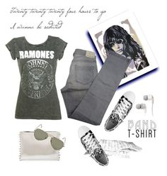 """""""Ramones"""" by molly2222 ❤ liked on Polyvore featuring Comptoir Des Cotonniers, Ray-Ban, Skullcandy, bandtshirt and bandtee"""