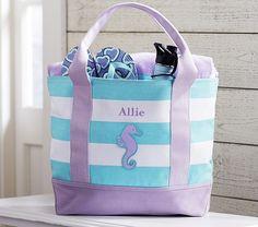 Aqua Stripe/Lavender Tote | Pottery Barn Kids