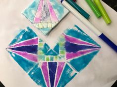 Marker Prints-A Super Easy Art Project with Impressive Results - The Kitchen Table Classroom Easy Art Projects, School Art Projects, Classroom Projects, Classroom Activities, School Ideas, Classroom Ideas, 4th Grade Art, Art Lessons Elementary, Elementary Education