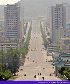 We don't need cars! (A street in Kaesong, North Korea) - FunSubstance The Rok, Reunification, Korean Peninsula, Picture Day, Park City, North West, South Korea, Paris Skyline, Scenery
