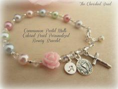 Communion Multi-Colored Pastel Pearl por TheCherishedBead en Etsy