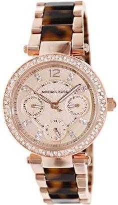 aaee1e002e86 Michael Kors Mini Parker Tortoise Acetate and Rose Gold-Tone Women s Watch