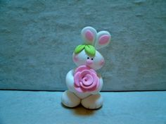 Bunny and Rose Figurine by countrycupboardclay on Etsy