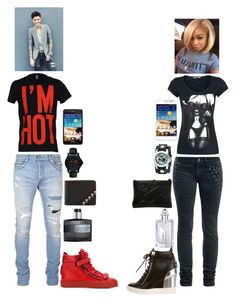 """""""Me & My Boo going to the mall"""" by michael-jackson-junkie ❤ liked on Polyvore featuring Balmain, Traser, Robert Graham, Moschino, Samsung, Domina, James Bond 007, Cartier, Nemesis and Giuseppe Zanotti"""