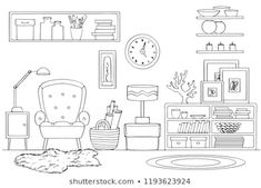 Find Sketch Room Interior Black White stock images in HD and millions of other royalty-free stock photos, illustrations and vectors in the Shutterstock collection. Pencil Art Drawings, Doodle Drawings, Easy Drawings, Doodle Art, Colouring Pages, Coloring Books, Free Adult Coloring, Interior Design Sketches, Bullet Journal Art