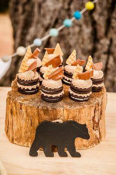 Boy's Modern Camping Birthday Party Dessert Snack Ideas