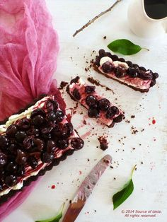 Chocolate Tart with Labneh and Cherries