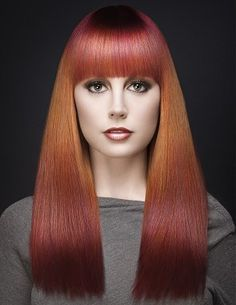 A long red straight coloured multi-tonal hairstyle by Van Michael / Loooove style and colours <3