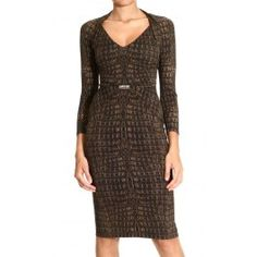 ROBERTO CAVALLI  LONG SLEEVE V NECK JERSEY CROCODILE PRINT DRESS  Price: $627.9  Shop @ Giglio.com