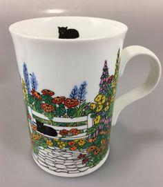 Wren Pat Turner Black Cats Flower Fine Bone China Mug 8 oz Coffee Tea #WrenGiftware