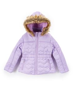 Lilac Heart Quilted Puffer Coat - Girls
