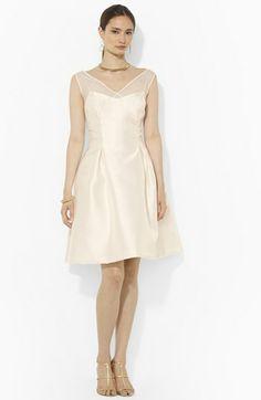 Lauren Ralph Lauren Satin Fit & Flare Dress: a vision in white with a gauzy snow queen neckline
