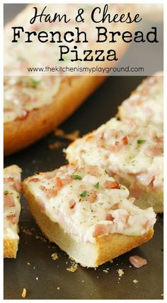 Easy Ham & Cheese French Bread Pizza ~ perfect for a quick & easy lunch or dinner. REAL Seal Dairy www. Recipes Using Ham, Leftover Ham Recipes, Leftovers Recipes, Recipe Using, Easy Dinner Recipes, Great Recipes, Easy Meals, Favorite Recipes, Simple Recipes