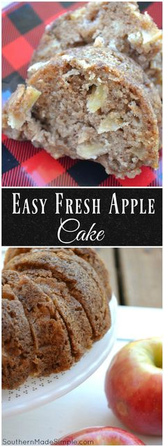 The easy fresh apple cake is incredibly simple, and perfectly moist! It's a great treat to make year round, but it's especially delicious during the Fall months. It's also a great way to use up any ex (Fresh Apple Recipes) Apple Cake Recipes, Fruit Recipes, Baking Recipes, Dessert Recipes, Apple Cakes, Lunch Recipes, Simple Apple Recipes, Apple Bunt Cake, Healthy Recipes