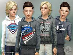 The Sims Resource: Hoodie for Boys P09 by lillka • Sims 4 Downloads