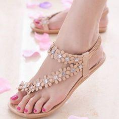 Wensltd Women's Casual Bohemia Flower Beads Flip-flop Shoes Flat Sandals (38, Khaki)