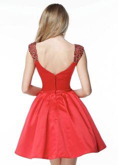 Chic Beaded Cap Sleeve Sweetheart Satin Red Short Homecoming Dress 2017