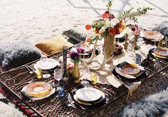 Bohemian wedding   beach dinner