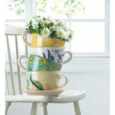 Many different Tea Cup Planter Visit www.yellowlady.biz #mothersday #garden #flower #outsidedecor