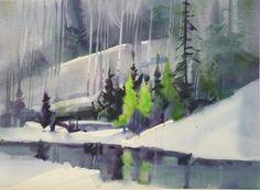 Nancy Standlee Fine Art: Stephen Quiller Workshop ~ Day 3 and 4 Winter Watercolor, Landscape Paintings, Fine Art, Painting Snow, Maine Art, Painting, Art, Watercolor Landscape, Winter Art