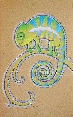 """cardboard chameleon"" | BenjiiBen on DeviantArt"