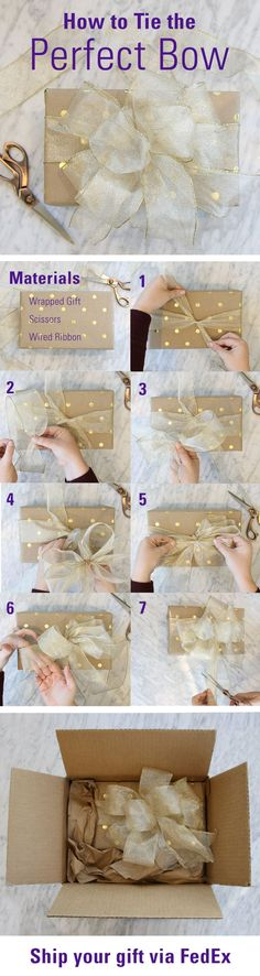 "Follow this step-by-step tutorial to learn how to tie the perfect holiday gift bow with ribbon!  Start with 2 pieces of ribbon. 1. Tie a knot around the box, leaving 8-10"" tails 2. Using second piece of ribbon, pinch the edges together, making a 8"" tail 3. Make 6 equal loops meeting in the center  4. Place looped ribbon on center of original tie 5. Secure bow to the box with a knot using the tails in #1 6. Expand & separate the loops 7. Fold tails in half; cut at 45° (wired edges to the midd"