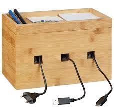 Image result for bambusova elektronika Socket Organizer, Cable Organizer, Wood Storage Box, Cube Storage, Cable Management Box, Phone Table, Tv Box, Wood Shop Projects, Cord Organization