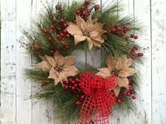 Red Christmas Wreath, Christmas Country Burlap Wreath, Pine Holiday ...