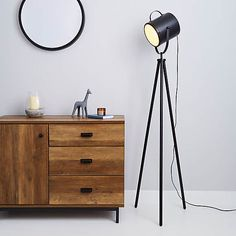 Carlton Camera Matt Black Floor Lamp | Dunelm