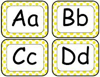 Classroom Freebies Too: Yellow Word Wall Letters