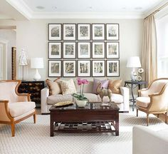Love the symmetrical layout of the framed prints-perfect over a fireplace with a very high ceiling like ours.