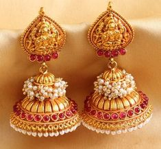 #Jumka #Earring #Pearls #Indian #Fashion #Gold