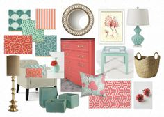 Aqua & Coral color palette for Living Room ~ Well-Nested Interiors: A Match Made in Heaven Coral Living Rooms, My Living Room, Coral Bedroom Decor, Coral Nursery, Bedroom Ideas, Bedroom Inspiration, Girls Bedroom, Aqua Decor, Decor Room
