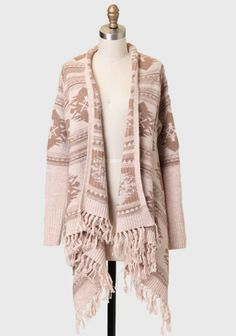 SWAPPED -- Sandstone Aztec Fringed Cardigan size L, NWT.