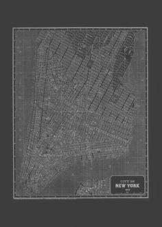 NEW YORK CITY Art Map Blueprint Map of New by EncorePrintSociety