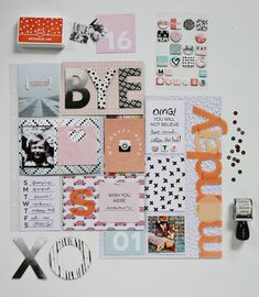 January Messy Box scrapbook pages. Get the full post on www.aBeautifulMess.com
