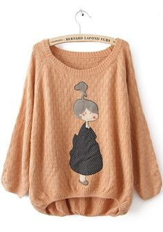 Pink Long Sleeve Girl Print Pullovers Sweater #SheInside