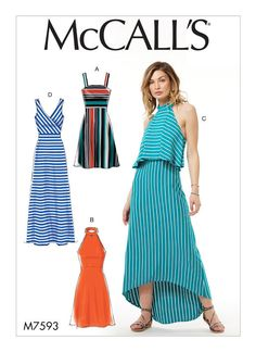 McCall's sewing pattern M7593: Misses' Sleeveless Pullover Dresses with Neckline, Bodice, and Length Variations