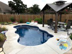 x Bermuda model fiberglass pool in Pacific Blue finish. Backyard Pool Designs, Small Backyard Pools, Swimming Pool Designs, Pool Landscaping, Backyard Ideas, Fire Pit Near Pool, Small Fiberglass Pools, Pools For Small Yards, Pool Prices